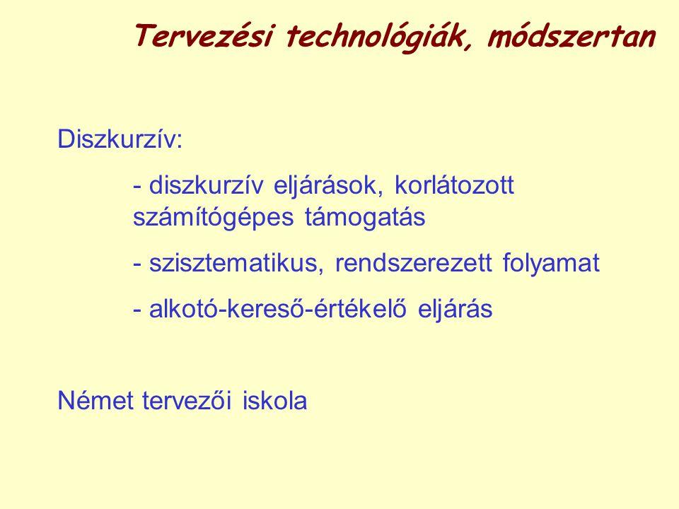 Tervezési technológiák, módszertan Diszkurzív: - diszkurzív eljárások, korlátozott számítógépes támogatás - szisztematikus, rendszerezett folyamat - alkotó-kereső-értékelő eljárás Német tervezői iskola