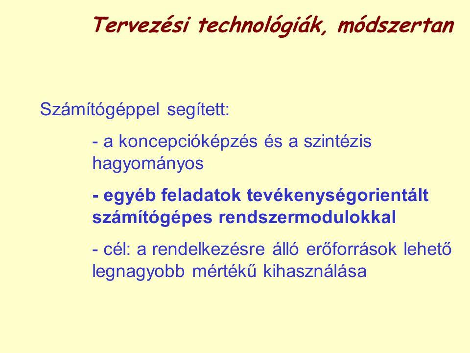 Tervezési technológiák, módszertan Számítógéppel segített: - a koncepcióképzés és a szintézis hagyományos - egyéb feladatok tevékenységorientált számítógépes rendszermodulokkal - cél: a rendelkezésre álló erőforrások lehető legnagyobb mértékű kihasználása