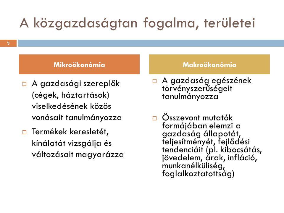 Közgazdaságtani alapok A közgazdaságtan felhasználása:  Megmagyarázza, előrejelzi a gazdasági társadalmi folyamatokat (pl.