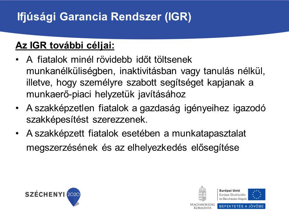 Ifjúsági Garancia Rendszer Az IGR keretében megvalósuló programok A GINOP 5.2.1 munkaerő-piaci program szerepe, hogy az Ifjúsági Garancia célcsoportjába tartozó fiatalok számára, akiknek támogatást is indokolt adni, ezt a támogatást —kiegészítő szolgáltatásokkal együtt biztosítsa.