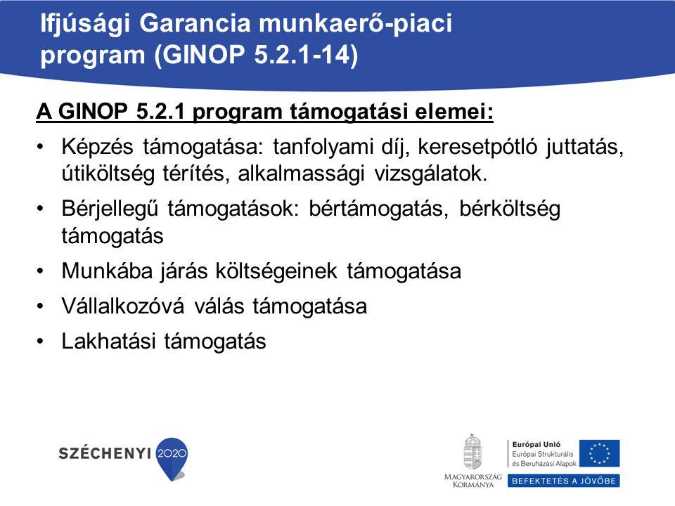 Ifjúsági Garancia Program – egyéb lehetőségek Az Ifjúsági Garancia Program keretében kínálható egyéb lehetőségek: Támogatás nélküli foglalkoztatás Vállalkozóvá válás támogatása (GINOP 5.2.3) Gyakornoki program (GINOP 5.2.4) Civil foglalkoztatási programok Oktatás