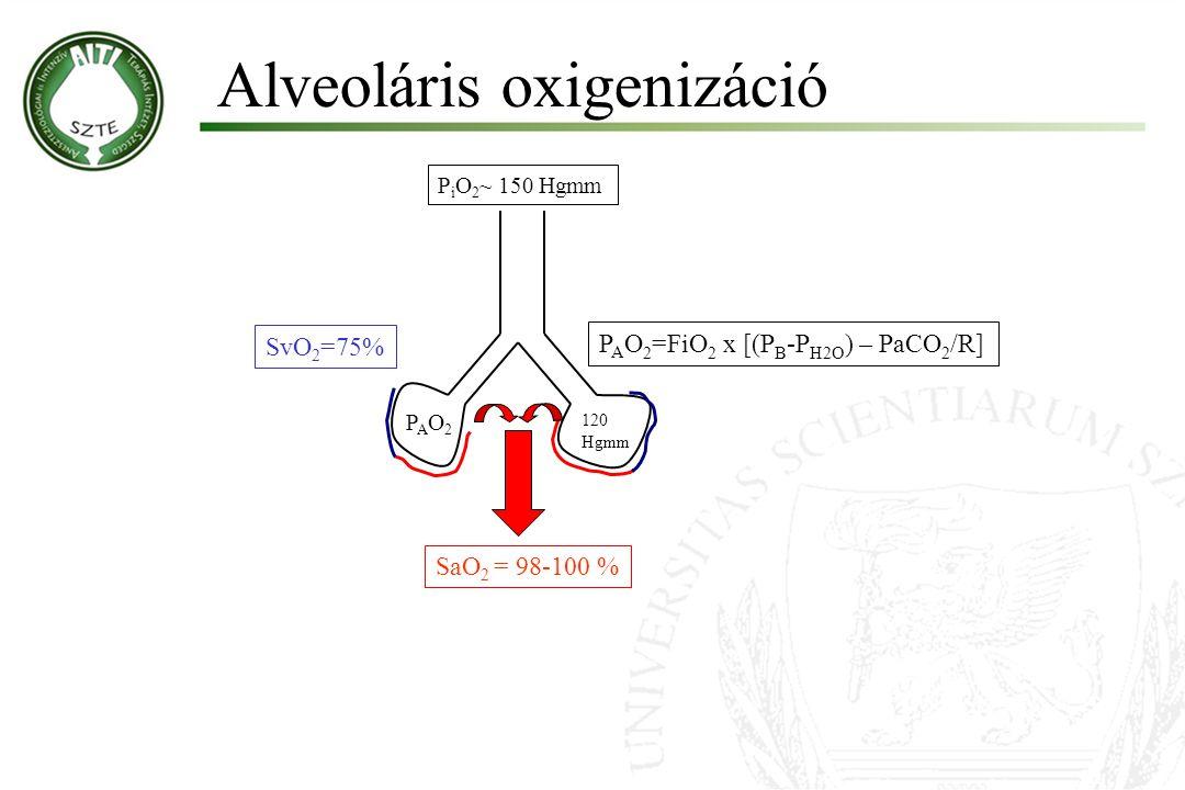 Alveoláris oxigenizáció Molnár '99 SvO 2 =75% PAO2PAO2 SaO 2 = 98-100 % 120 Hgmm P A O 2 =FiO 2 x [(P B -P H2O ) – PaCO 2 /R] P i O 2 ~ 150 Hgmm