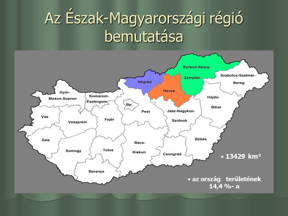 Az Észak-Magyarországi régió bemutatása 13429 km² az ország területének 14,4 %- a