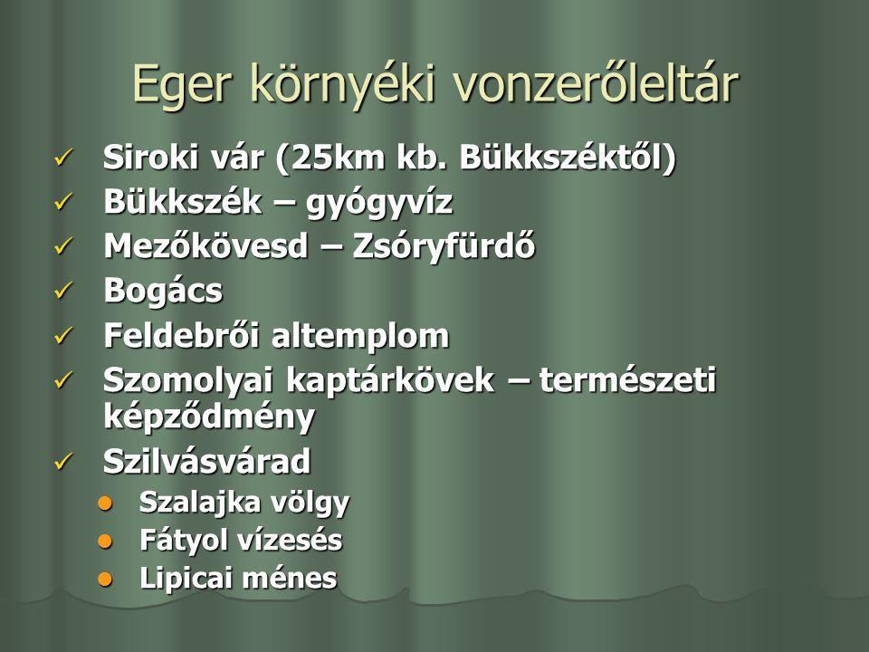 Eger környéki vonzerőleltár Siroki vár (25km kb. Bükkszéktől) Siroki vár (25km kb. Bükkszéktől) Bükkszék – gyógyvíz Bükkszék – gyógyvíz Mezőkövesd – Z