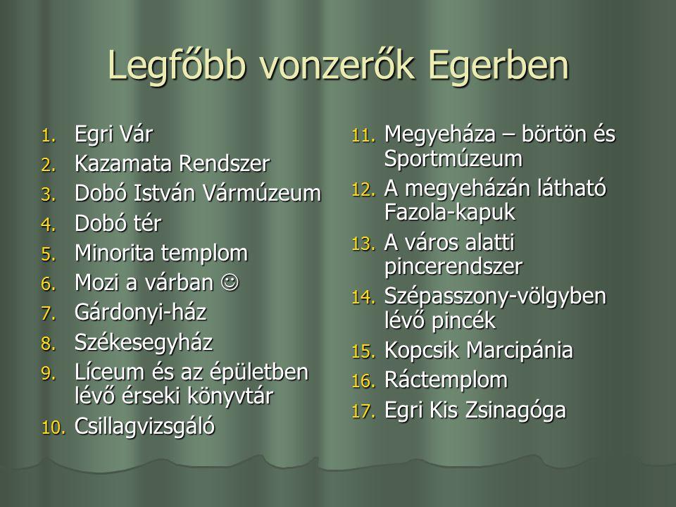 Legfőbb vonzerők Egerben 1.Egri Vár 2. Kazamata Rendszer 3.