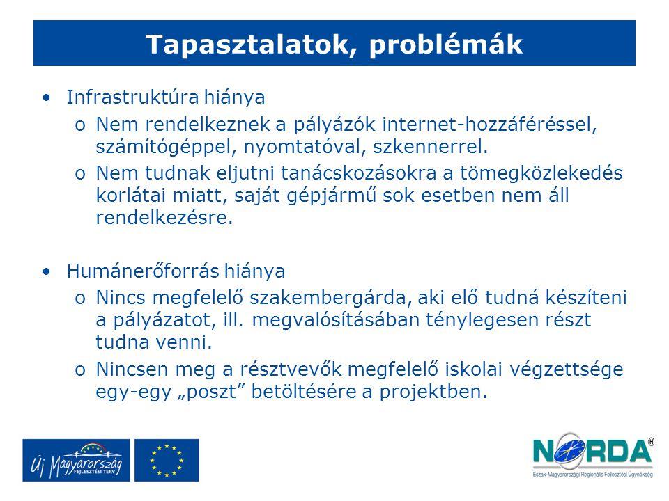 Tapasztalatok, problémák Infrastruktúra hiánya oNem rendelkeznek a pályázók internet-hozzáféréssel, számítógéppel, nyomtatóval, szkennerrel.