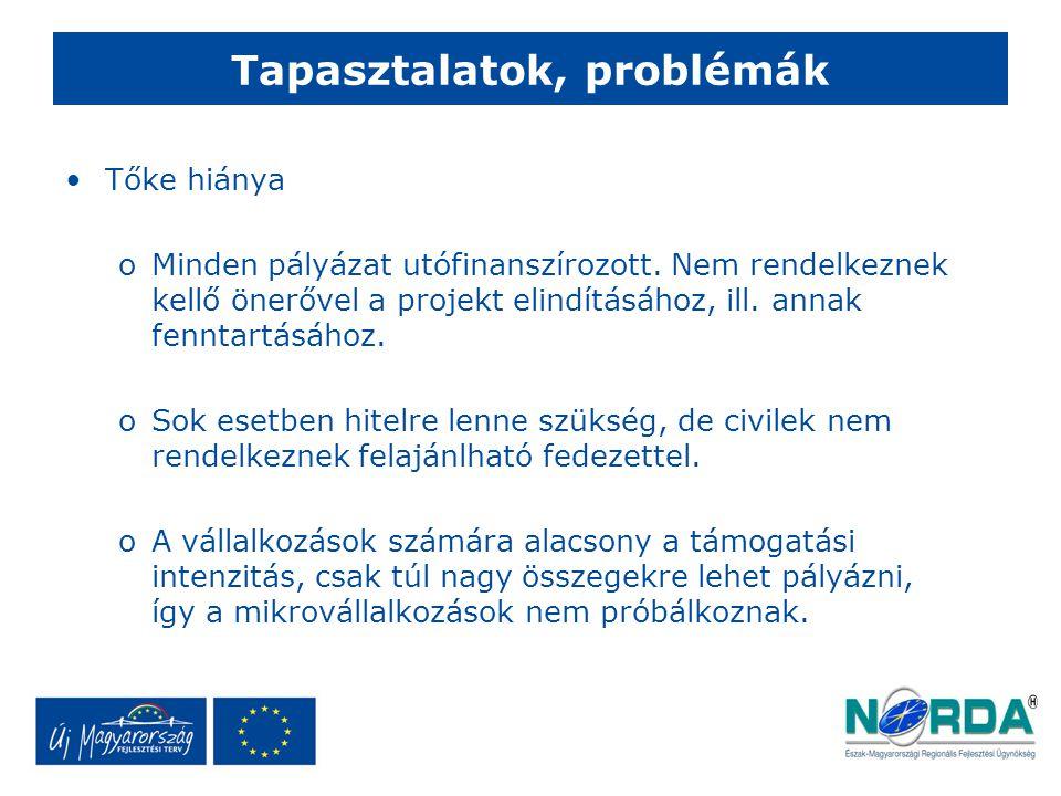 Tapasztalatok, problémák Tőke hiánya oMinden pályázat utófinanszírozott.