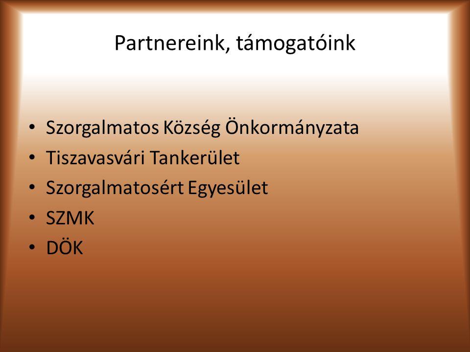 Partnereink, támogatóink Szorgalmatos Község Önkormányzata Tiszavasvári Tankerület Szorgalmatosért Egyesület SZMK DÖK