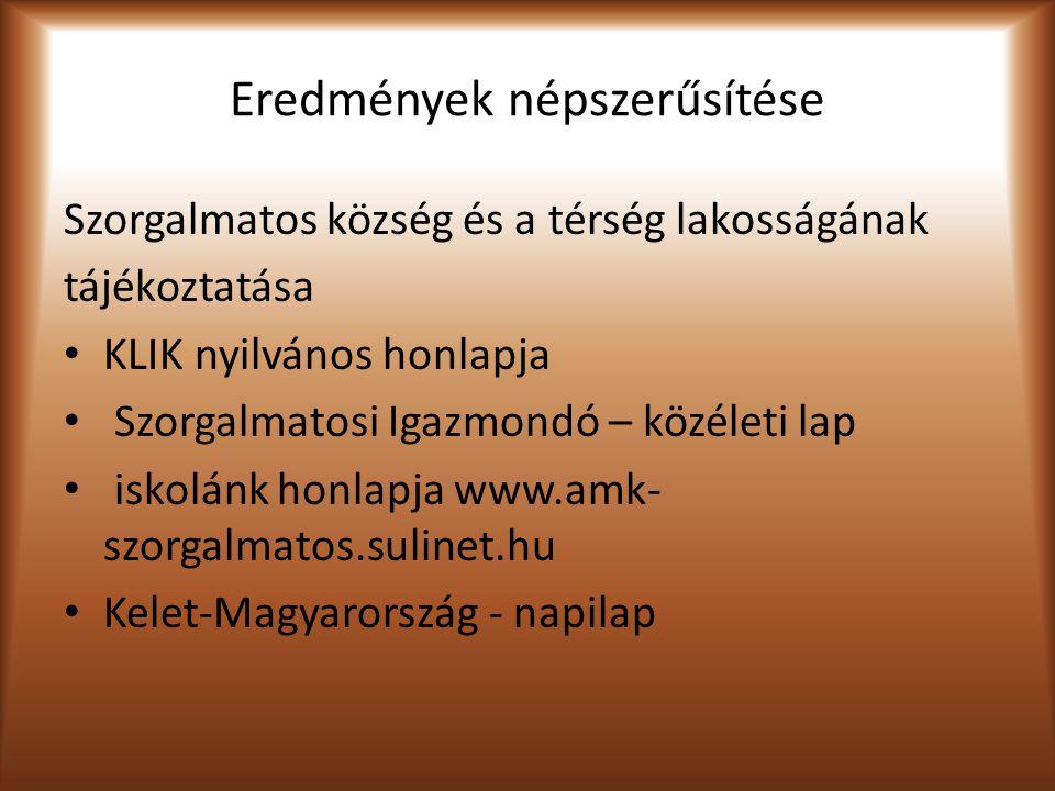 Eredmények népszerűsítése Szorgalmatos község és a térség lakosságának tájékoztatása KLIK nyilvános honlapja Szorgalmatosi Igazmondó – közéleti lap iskolánk honlapja www.amk- szorgalmatos.sulinet.hu Kelet-Magyarország - napilap