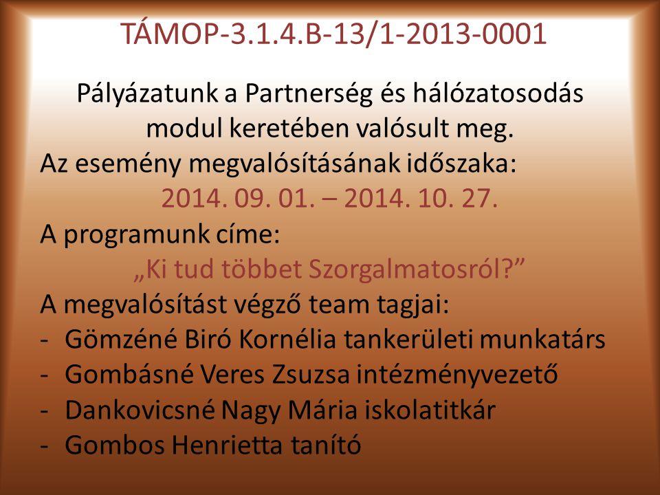 TÁMOP-3.1.4.B-13/1-2013-0001 Pályázatunk a Partnerség és hálózatosodás modul keretében valósult meg.