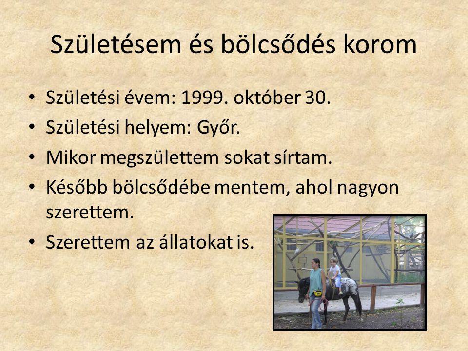 Születésem és bölcsődés korom Születési évem: 1999. október 30. Születési helyem: Győr. Mikor megszülettem sokat sírtam. Később bölcsődébe mentem, aho