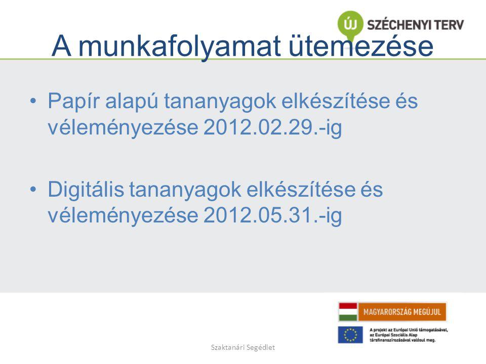 Szaktanári Segédlet A munkafolyamat ütemezése Papír alapú tananyagok elkészítése és véleményezése 2012.02.29.-ig Digitális tananyagok elkészítése és véleményezése 2012.05.31.-ig