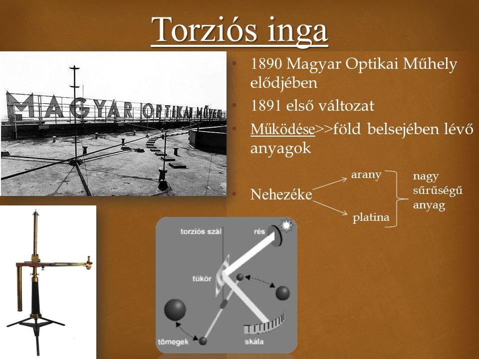  Torziós inga 1890 Magyar Optikai Műhely elődjében 1891 első változat Működése>> föld belsejében lévő anyagok Nehezéke arany platina nagy sűrűségű an