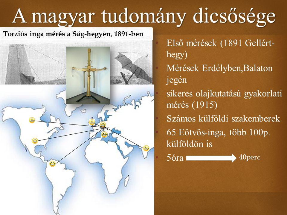  Első mérések (1891 Gellért- hegy) Mérések Erdélyben,Balaton jegén sikeres olajkutatású gyakorlati mérés (1915) Számos külföldi szakemberek 65 Eötvös