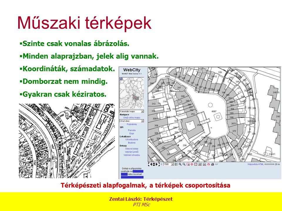 Zentai László: Térképészet PTI MSc Térképészeti alapfogalmak, a térképek csoportosítása Műszaki térképek  Szinte csak vonalas ábrázolás.  Minden ala