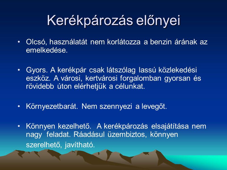 Kerékpározás hatásai Serkenti a légzést és a vérkeringést.