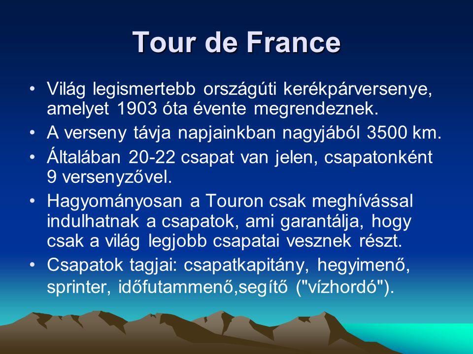 Tour de France Világ legismertebb országúti kerékpárversenye, amelyet 1903 óta évente megrendeznek.
