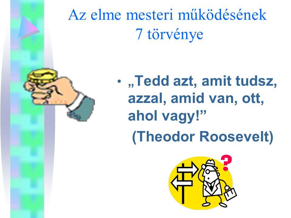 """Az elme mesteri működésének 7 törvénye """" Tedd azt, amit tudsz, azzal, amid van, ott, ahol vagy! (Theodor Roosevelt)"""