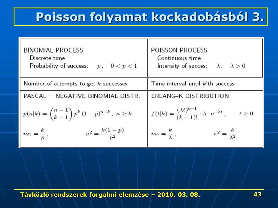Távközlő rendszerek forgalmi elemzése – 2010. 03. 08. 43 Poisson folyamat kockadobásból 3.