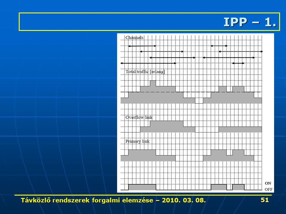Távközlő rendszerek forgalmi elemzése – 2010. 03. 08. 51 IPP – 1.