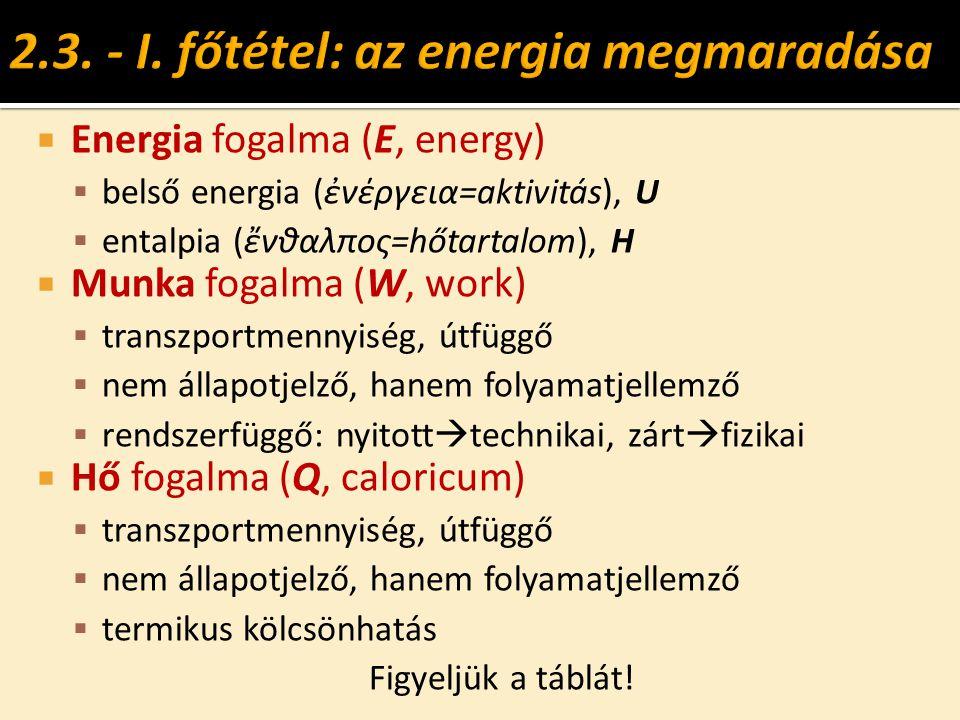  Energia fogalma (E, energy)  belső energia (ἐνέργεια=aktivitás), U  entalpia (ἔνθαλπος=hőtartalom), H  Munka fogalma (W, work)  transzportmennyi