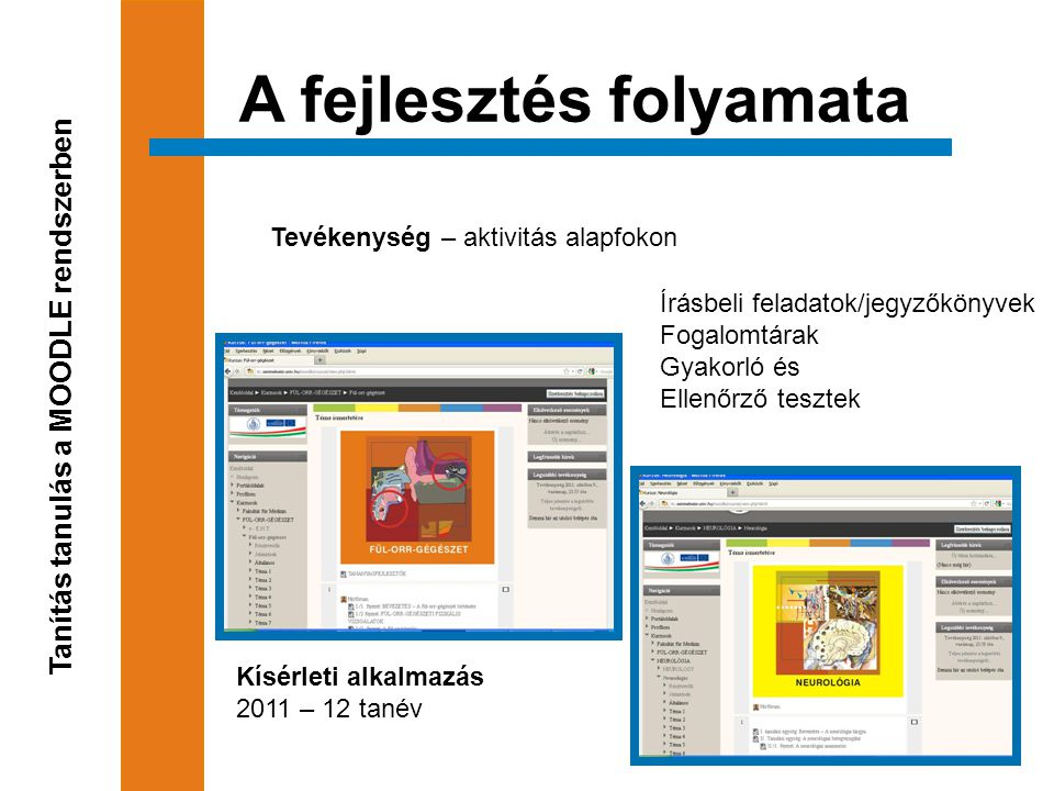 A fejlesztés folyamata Tanítás tanulás a MOODLE rendszerben Tevékenység – aktivitás alapfokon Írásbeli feladatok/jegyzőkönyvek Fogalomtárak Gyakorló és Ellenőrző tesztek Kísérleti alkalmazás 2011 – 12 tanév