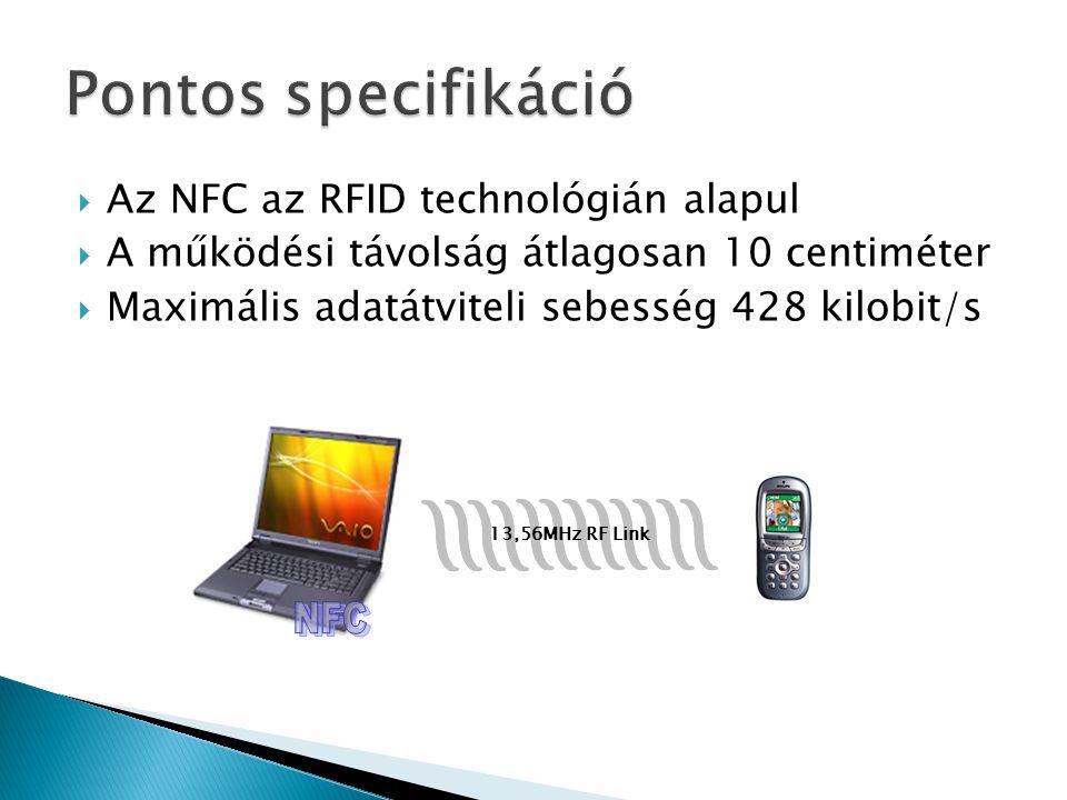  Az NFC az RFID technológián alapul  A működési távolság átlagosan 10 centiméter  Maximális adatátviteli sebesség 428 kilobit/s 13,56MHz RF Link