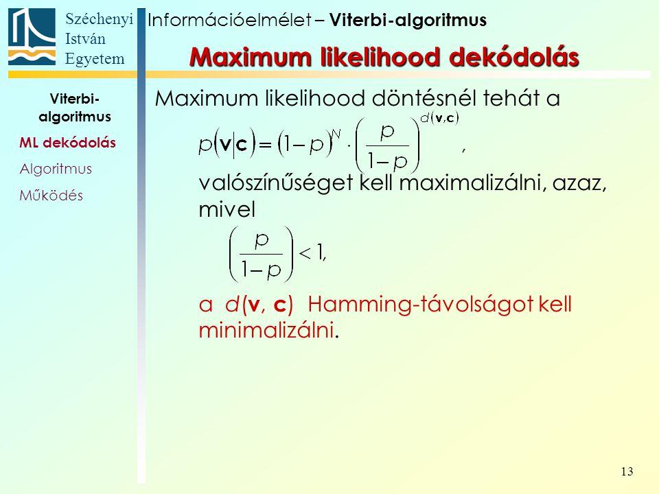 Széchenyi István Egyetem 13 Maximum likelihood döntésnél tehát a valószínűséget kell maximalizálni, azaz, mivel a d( v, c ) Hamming-távolságot kell mi