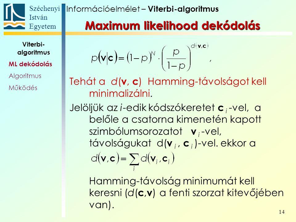 Széchenyi István Egyetem 14 Tehát a d( v, c ) Hamming-távolságot kell minimalizálni. Jelöljük az i-edik kódszókeretet c i -vel, a belőle a csatorna ki