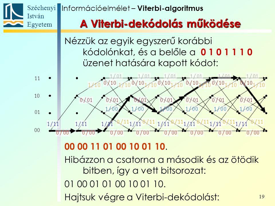 Széchenyi István Egyetem 19 A Viterbi-dekódolás működése Nézzük az egyik egyszerű korábbi kódolónkat, és a belőle a 0 1 0 1 1 1 0 üzenet hatására kapott kódot: 00 00 11 01 00 10 01 10.