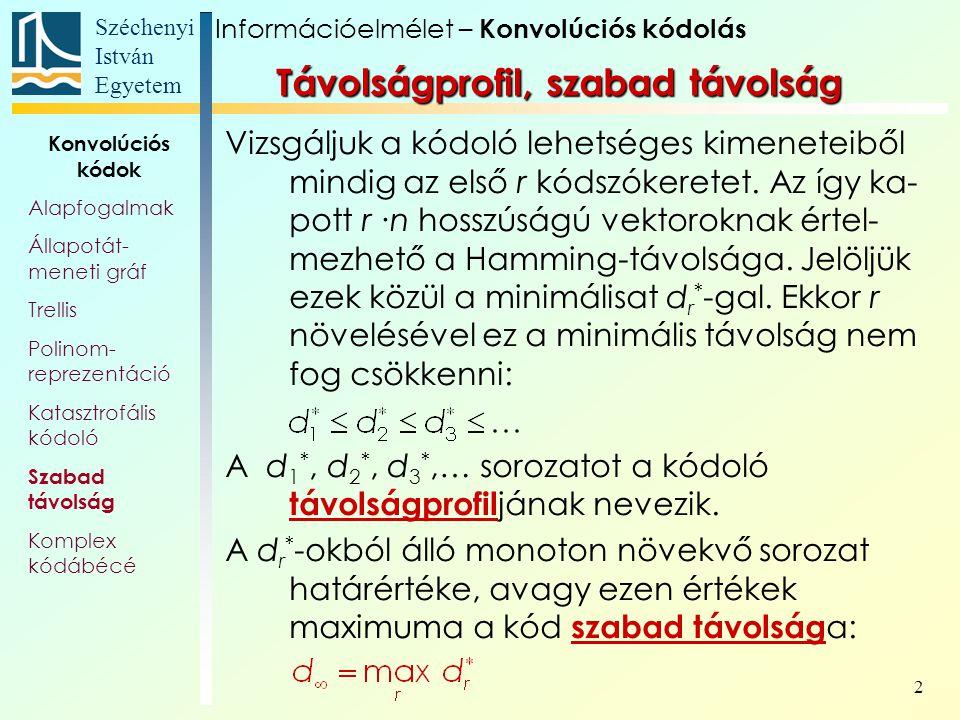Széchenyi István Egyetem 2 Távolságprofil, szabad távolság Vizsgáljuk a kódoló lehetséges kimeneteiből mindig az első r kódszókeretet.