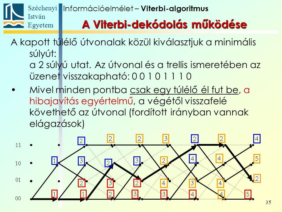 Széchenyi István Egyetem 35 A kapott túlélő útvonalak közül kiválasztjuk a minimális súlyút: a 2 súlyú utat. Az útvonal és a trellis ismeretében az üz