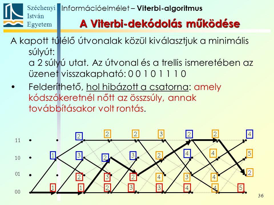 Széchenyi István Egyetem 36 A kapott túlélő útvonalak közül kiválasztjuk a minimális súlyút: a 2 súlyú utat. Az útvonal és a trellis ismeretében az üz