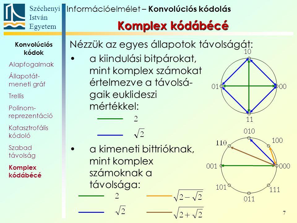 Széchenyi István Egyetem 7 Nézzük az egyes állapotok távolságát: a kiindulási bitpárokat, mint komplex számokat értelmezve a távolsá- gaik euklideszi mértékkel: a kimeneti bittrióknak, mint komplex számoknak a távolsága: Információelmélet – Konvolúciós kódolás Konvolúciós kódok Alapfogalmak Állapotát- meneti gráf Trellis Polinom- reprezentáció Katasztrofális kódoló Szabad távolság Komplex kódábécé