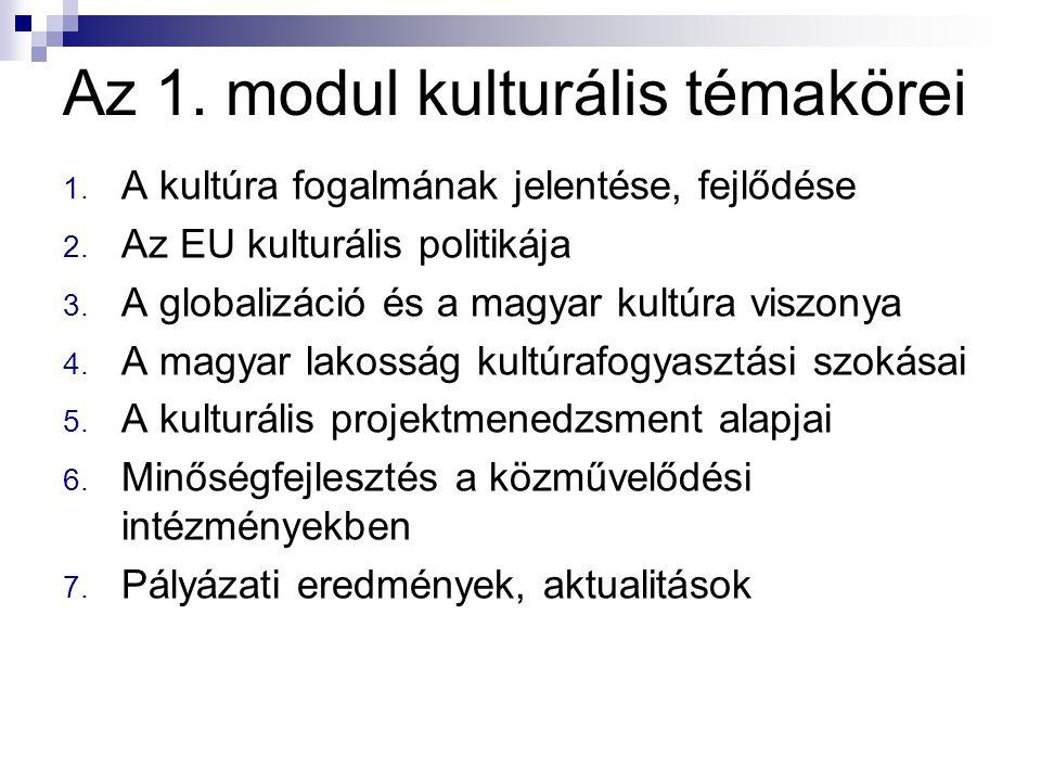 Az 1. modul kulturális témakörei 1. A kultúra fogalmának jelentése, fejlődése 2. Az EU kulturális politikája 3. A globalizáció és a magyar kultúra vis