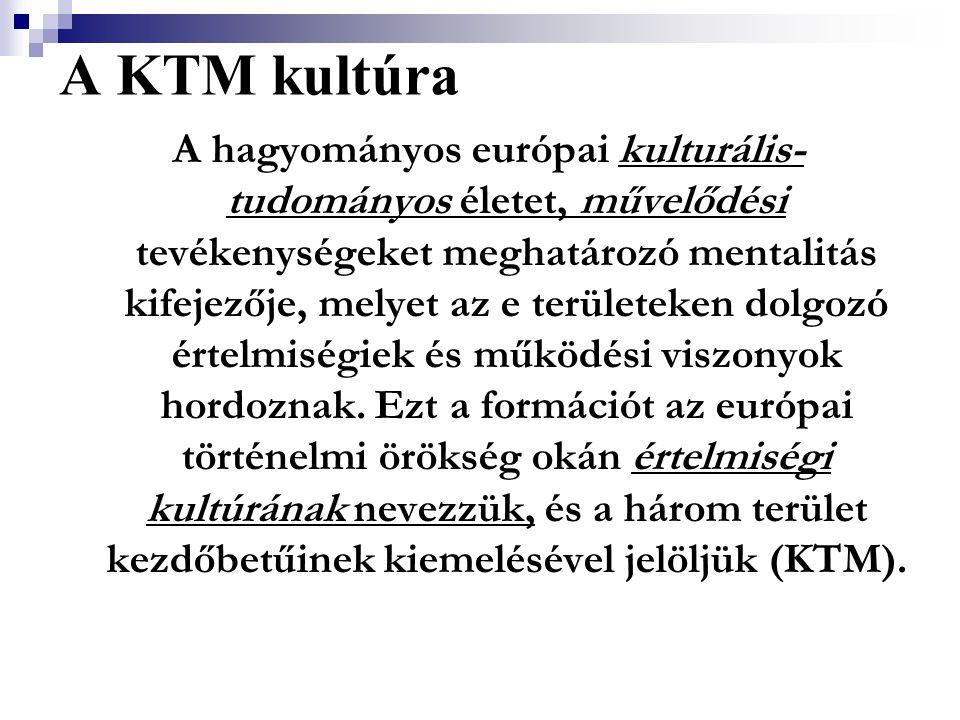 A KTM kultúra A hagyományos európai kulturális- tudományos életet, művelődési tevékenységeket meghatározó mentalitás kifejezője, melyet az e területek