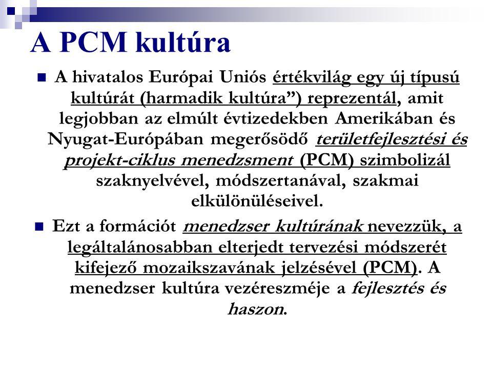 """A PCM kultúra A hivatalos Európai Uniós értékvilág egy új típusú kultúrát (harmadik kultúra"""") reprezentál, amit legjobban az elmúlt évtizedekben Ameri"""