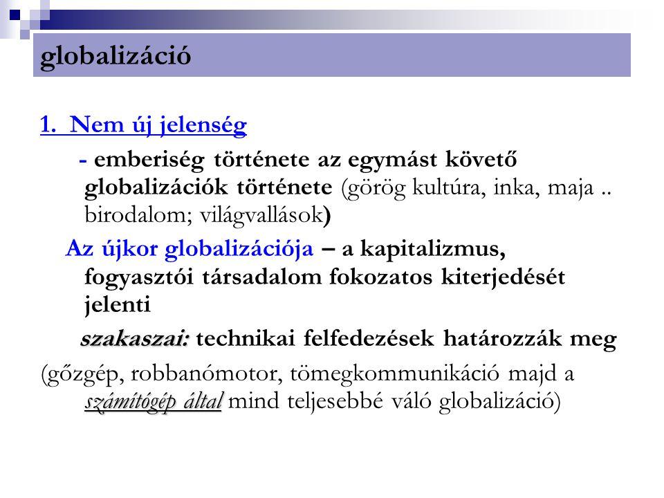 globalizáció 1. Nem új jelenség - emberiség története az egymást követő globalizációk története (görög kultúra, inka, maja.. birodalom; világvallások)