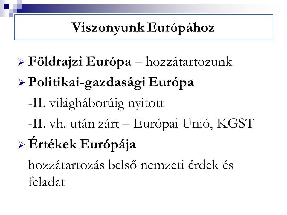Viszonyunk Európához  Földrajzi Európa – hozzátartozunk  Politikai-gazdasági Európa -II. világháborúig nyitott -II. vh. után zárt – Európai Unió, KG