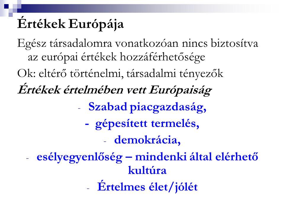 Értékek Európája Egész társadalomra vonatkozóan nincs biztosítva az európai értékek hozzáférhetősége Ok: eltérő történelmi, társadalmi tényezők Értéke