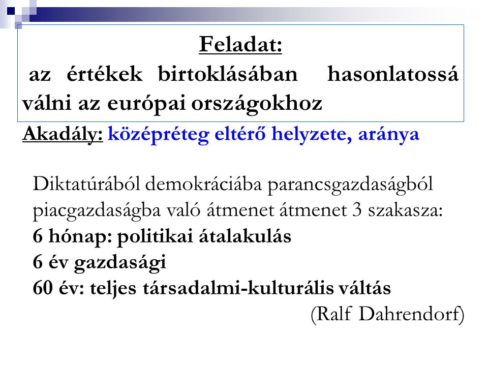Feladat: az értékek birtoklásában hasonlatossá válni az európai országokhoz Akadály: középréteg eltérő helyzete, aránya Diktatúrából demokráciába para