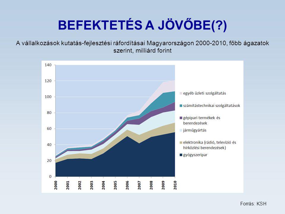 BEFEKTETÉS A JÖVŐBE(?) A vállalkozások kutatás-fejlesztési ráfordításai Magyarországon 2000-2010, főbb ágazatok szerint, milliárd forint Forrás: KSH