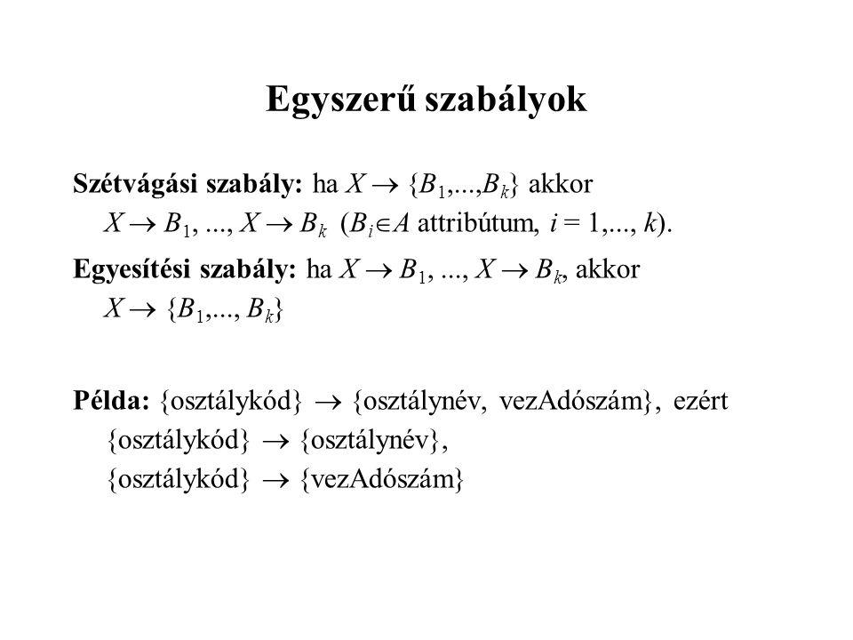 Szétvágási szabály: ha X  {B 1,...,B k } akkor X  B 1,..., X  B k (B i  A attribútum, i = 1,..., k).
