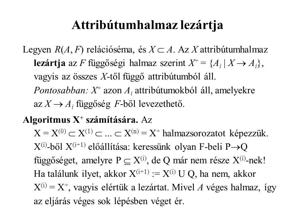 Legyen R(A, F) relációséma, és X  A.