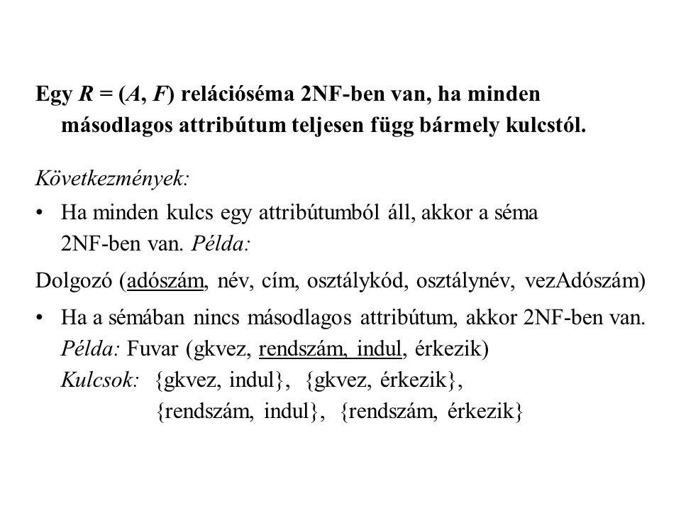 Egy R = (A, F) relációséma 2NF-ben van, ha minden másodlagos attribútum teljesen függ bármely kulcstól.