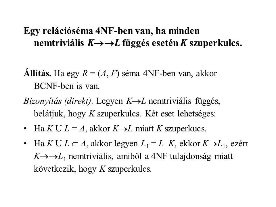 Egy relációséma 4NF-ben van, ha minden nemtriviális K  L függés esetén K szuperkulcs.