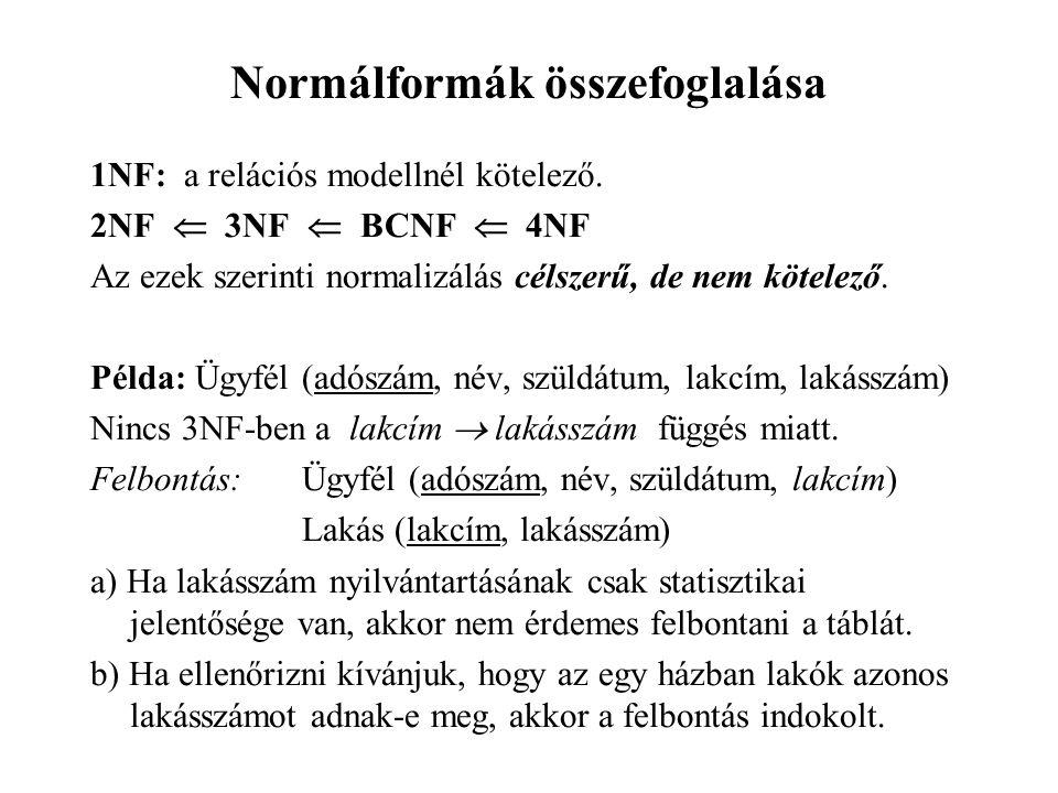 Normálformák összefoglalása 1NF: a relációs modellnél kötelező.