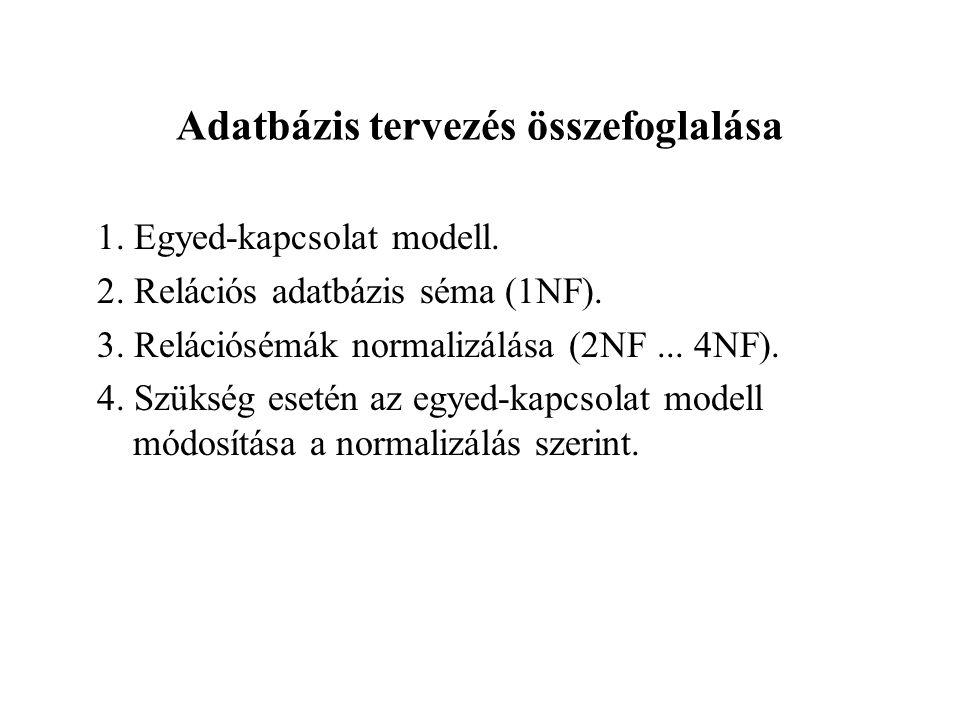 Adatbázis tervezés összefoglalása 1.Egyed-kapcsolat modell.