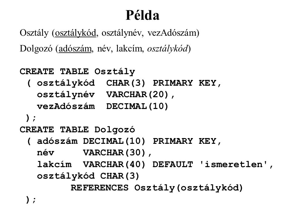 Példa Osztály (osztálykód, osztálynév, vezAdószám) Dolgozó (adószám, név, lakcím, osztálykód) CREATE TABLE Osztály ( osztálykód CHAR(3) PRIMARY KEY, osztálynév VARCHAR(20), vezAdószám DECIMAL(10) ); CREATE TABLE Dolgozó ( adószám DECIMAL(10) PRIMARY KEY, név VARCHAR(30), lakcím VARCHAR(40) DEFAULT ismeretlen , osztálykód CHAR(3) REFERENCES Osztály(osztálykód) );