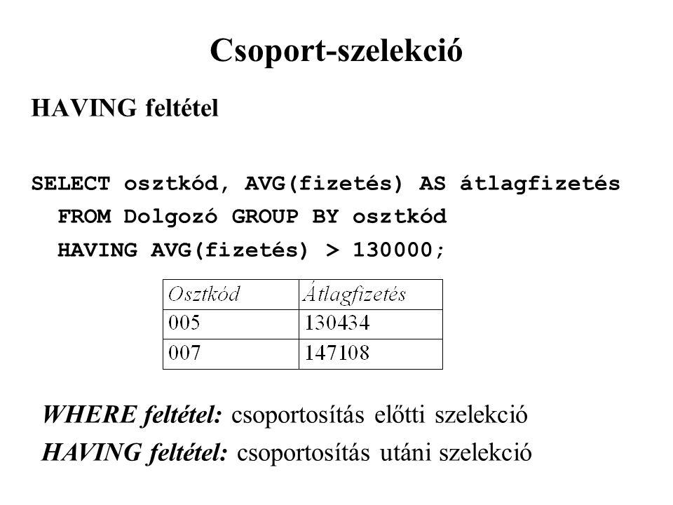 Csoport-szelekció HAVING feltétel SELECT osztkód, AVG(fizetés) AS átlagfizetés FROM Dolgozó GROUP BY osztkód HAVING AVG(fizetés) > 130000; WHERE feltétel: csoportosítás előtti szelekció HAVING feltétel: csoportosítás utáni szelekció